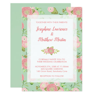 Spring Ranunculus Floral Mint Wedding Invitations