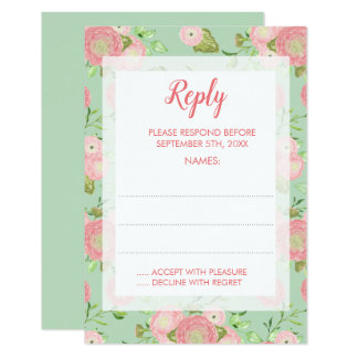 Spring Ranunculus Mint Floral Wedding Reply Cards