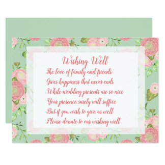 Spring Ranunculus Mint Wedding Wishing Well Cards
