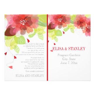 Spring red, pink flowers floral wedding program 21.5 cm x 28 cm flyer