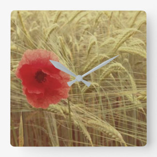 Spring Red Poppy Flower Nature Wall Clock