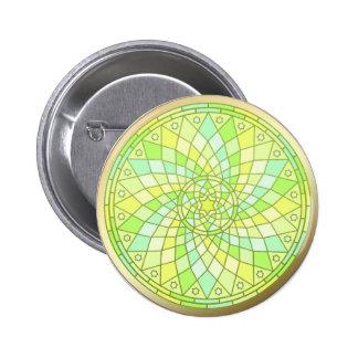 Spring Renewal Gold Trim Mandala button