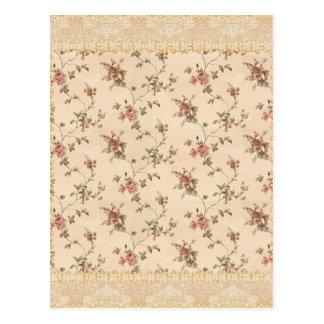 spring romance victorian rose pattern postcard