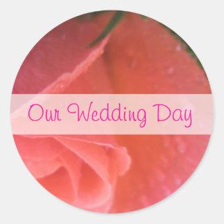 Spring Rosebud Wedding Round Sticker