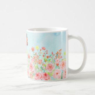 spring roses and butterflies watercolor flower mug