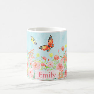 spring roses butterflies watercolor customizable basic white mug