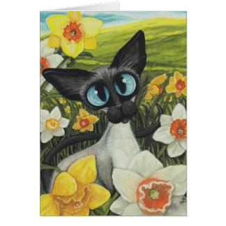 Spring Siamese Cat Easter Daffodils by BiHrLe Card