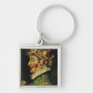 Spring, Silver-Colored Square Key Ring