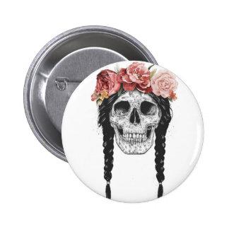Spring skull 6 cm round badge