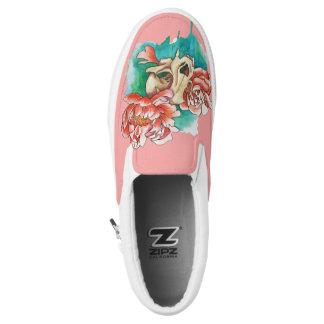 spring skull slip on shoes