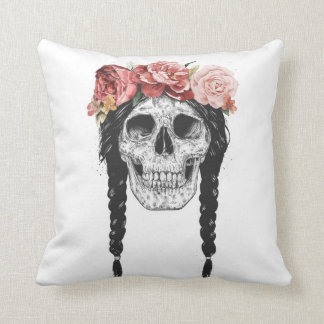 Spring skull throw pillow