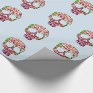 Spring skull wrapping paper