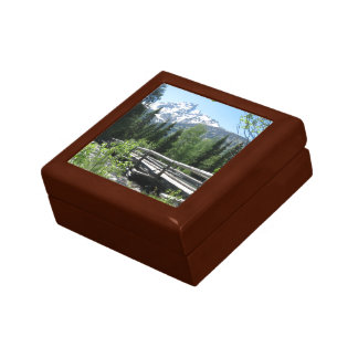 Spring Snow on Grand Tetons with Bridge over River Small Square Gift Box