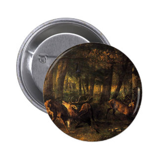 Spring, Stags Fighting by Gustave Courbet 6 Cm Round Badge