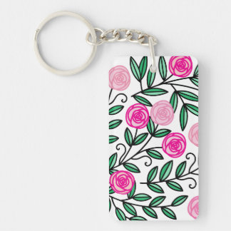 Spring Summer Colorful Pink Floral Fun and Random Key Ring