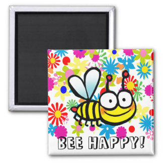 spring summer cute cartoon bee happy square magnet