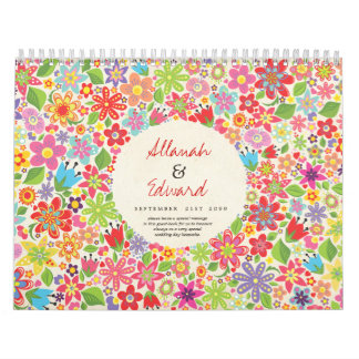 Spring Summer Flowers Wedding Photo Guest Book Wall Calendar