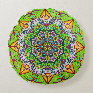 Spring Sunrise Flower Mandala Round Cushion