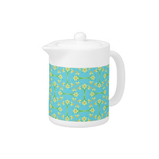Spring Sunshine Daffodils on Sky Blue Teapot