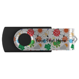 Spring Symbols Pattern Swivel USB 2.0 Flash Drive