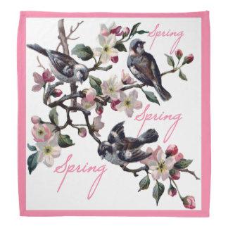 Spring Time Apple Blossom Birds Bandana