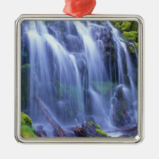 Spring-time fresh water flowing over moss Silver-Colored square decoration