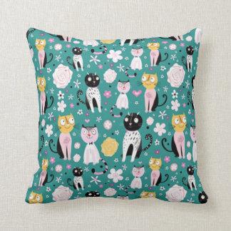 Spring Time Kitty Throw Pillow