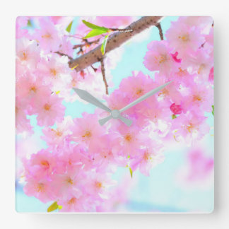 Spring Time Pink Cherry Blossoms Wall Clock