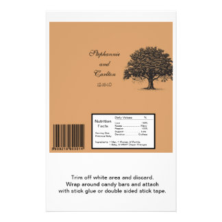 Spring Tree Brown/Black Wedding Large Bar Wrapper 14 Cm X 21.5 Cm Flyer