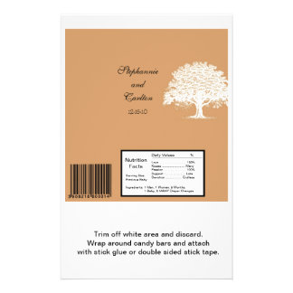 Spring Tree Brown/White Wedding Large Bar Wrapper Flyer