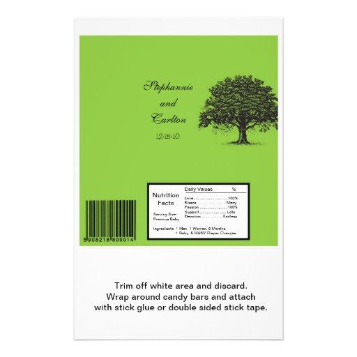 Spring Tree Green/Black Wedding Large Bar Wrapper Full Color Flyer