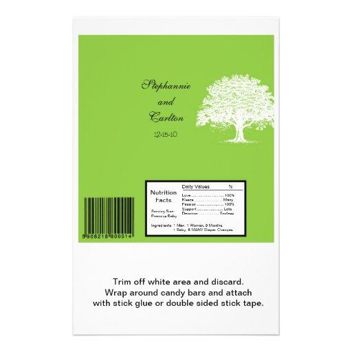 Spring Tree Green/White Wedding Large Bar Wrapper Full Color Flyer