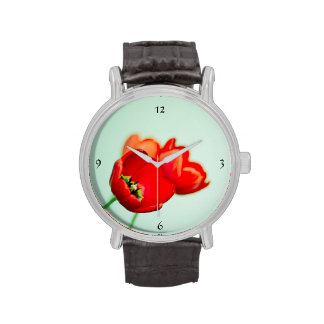 Spring tulip red floral mint green elegant wrist watches