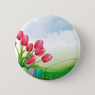 Spring Tulips and Easter Eggs 6 Cm Round Badge