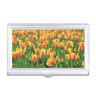 Spring tulips bloom in front of old barn. business card holder