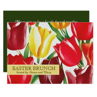 Spring Tulips Custom Easter Brunch Invitations