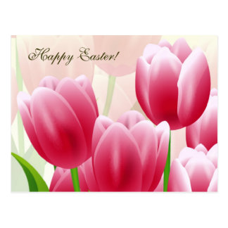 Spring Tulips. Customizable Easter Postcards