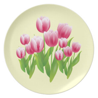 Spring Tulips. Easter Gift Plates
