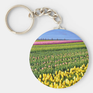 Spring tulips field basic round button key ring