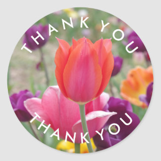 Spring Tulips Flowers Thank You Classic Round Sticker