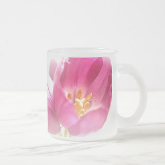 Spring Tulips Frosted Glass Mug