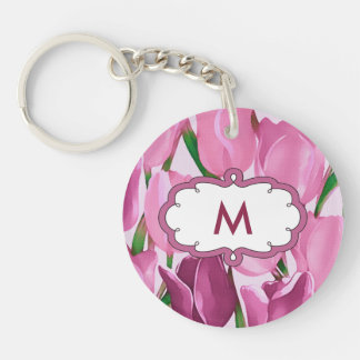 Spring Tulips Mother's Day Gift Monogram Keychain