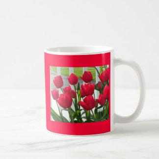 Spring tulips basic white mug