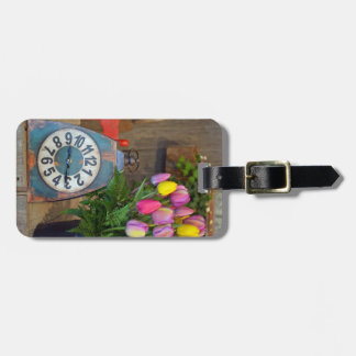 Spring tulips print luggage tag