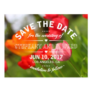 Spring Tulips Save the Date Postcard Wording