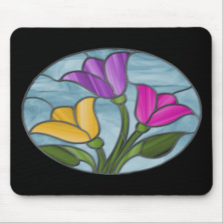 Spring Tulips Stained Glass Mousepad