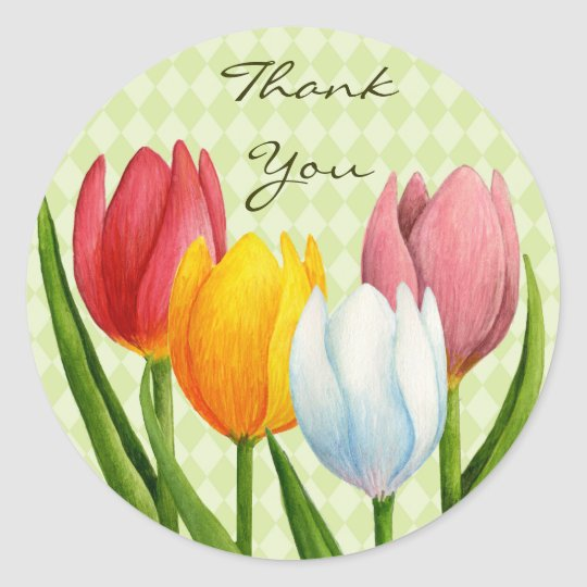 Spring Tulips Thank You Sticker