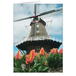 Spring Tulips Windmill Greeting Card