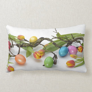 Spring Tulips with Easter Eggs Lumbar Cushion