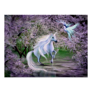 Spring Unicorn fantasy Poster